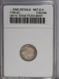 Early Half Dimes: , 1795 H10C --Edge Filed, Bent--ANACS. Fine Details, Net Good 6. V-4,LM-10, R.3. The variety is confirmed by the presence of...