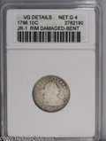 Early Dimes: , 1796 10C VG Details--Rim Damaged, Bent--ANACS. Net Good 4. JR-1,R.3. Light to medium gray with some surface abrasions in a...