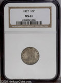 Bust Dimes: , 1827 10C MS61 NGC. JR-13, R.3. Mottled pewter-gray and iridescenttoning with good eye appeal for the grade. As a rule, Min...