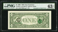 Error Notes:Third Printing on Reverse, Third Printing on Back Error Fr. 1922-L $1 1995 Federal Reserve Note. PMG Choice Uncirculated 63 EPQ.. ...