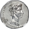 Ancients:Roman Imperial, Ancients: Augustus (27 BC-AD 14). AR denarius (19mm, 3.92 gm, 7h). NGC MS 4/5 - 4/5....