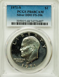 Proof Eisenhower Dollars, 1971-S $1 Silver, Doubled Die Obverse, FS-106, PR68 Cameo PCGS.PCGS Population: (4/1). NGC Census: (3/0). ...