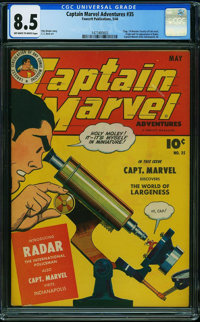 Captain Marvel Adventures #35 (Fawcett Publications, 1944) CGC VF+ 8.5 OFF-WHITE TO WHITE pages