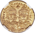 Ancients:Byzantine, Ancients: Constantine V Copronymus (AD 741-775), with Leo IV. AV solidus (21mm, 4.46 gm, 6h). NGC MS 5/5 - 4/5....