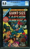 Bronze Age (1970-1979):Superhero, Giant-Size Captain America #1 (Marvel, 1975) CGC VF 8.0 OFF-WHITE TO WHITE pages.