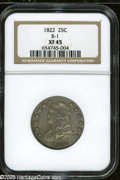 Bust Quarters: , 1822 25C XF45 NGC. B-1, R.2. Except for slight weakness on theobverse stars, this piece is well struck with the normal lig...