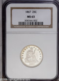 Seated Quarters: , 1867 25C MS63 NGC. Fully lustrous and brilliant, this is a veryrare coin. Mintage is 20,625. Population numbers are really...