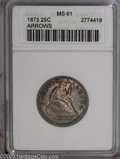 Seated Quarters: , 1873 25C Arrows MS61 ANACS. Dappled plum and navy-blue colorsenvelop this lustrous two year type coin. Well struck and bag...