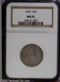 Seated Quarters: , 1879 25C MS65 NGC. Deep crimson-gray, blue, and lilac colorsembrace this silky and meticulously struck Gem. Beautifully pr...