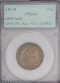 Proof Seated Quarters: , 1874 25C Arrows PR64 PCGS. Deep steel-gray color blankets eachside, but, as the coin rotates under a light, shades of rose...