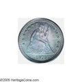 Proof Seated Quarters: , 1879 25C PR66 PCGS. Fully toned in a dramatic cobalt-blue this coinhas the color evenly distributed over both sides. The d...