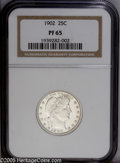 Proof Barber Quarters: , 1902 25C PR65 NGC. Fully brilliant and white with deeply mirrored fields and a touch of cameo contrast. The strike is near-...