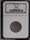 Proof Barber Quarters: , 1903 25C PR64 NGC. Essentially mark free surfaces are blanketed in deep bluish-gray, lavender, and gold patination, and the...