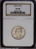 Washington Quarters: , 1932-D 25C AU58 NGC. Attractive for the grade with tons ofremaining luster and a light and attractive mask of rose and lav...