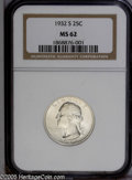 Washington Quarters: , 1932-S 25C MS62 NGC. This key date '32-S quarter displays nearlyuntoned lustrous surfaces and adequately defined motifs. A...