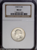 Washington Quarters: , 1932-S 25C MS62 NGC. Fully brilliant and well defined with theappearance of a higher graded coin. The '32-S has the lowest...
