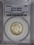 Washington Quarters: , 1934-D 25C Heavy Motto MS65 PCGS. Touches of golden-brown patinaoverlay lustrous surfaces. A couple of minute marks on the...