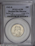 Washington Quarters: , 1942-D 25C Doubled Die Obverse AU50 PCGS. FS-15. Moderately abradedwith considerable remaining luster. LIBERTY is die doub...