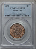 Argentina, Argentina: Republic Centavo 1894 MS62 Red and Brown PCGS,...