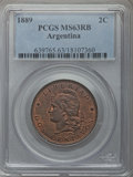 Argentina, Argentina: Republic 2 Centavos 1889 MS63 Red and Brown PCGS,...