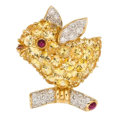 Estate Jewelry:Brooches - Pins, Yellow Sapphire, Diamond, Ruby Pendant-Brooch. ...