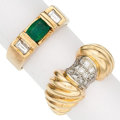 Estate Jewelry:Rings, Emerald, Diamond, Gold Rings The lot includes:...