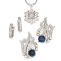 Estate Jewelry:Lots, Diamond, Sapphire, White Gold Jewelry. ... (Total: 3 Items)