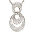 Estate Jewelry:Pendants and Lockets, Diamond, White Gold Pendant-Necklace. ...