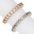 Estate Jewelry:Rings, Diamond, Gold Eternity Bands. ... (Total: 2 Items)