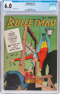 Bulletman #4 (Fawcett Publications, 1942) CGC FN 6.0 Cream to off-white pages