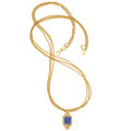 Estate Jewelry:Pendants and Lockets, Tanzanite, Diamond, Gold Pendant-Necklace . ...