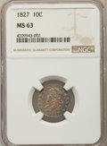 Bust Dimes, 1827 10C Pointed Top 1, JR-13, R.3, MS63 NGC....