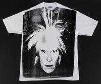Andy Warhol (1928-1987) Self-Portrait with Fright Wig, circa 1986 Silkscreen in black on (XXL) T-shi
