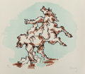 Fine Art - Work on Paper:Print, Jacques Lipchitz (1891-1973). The Horse, 1967. Lithograph in colors on II Bisonte vellum paper. 22-5/8 x 25-3/4 inches (...