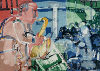 Romare Howard Bearden (1911-1988) Bopping at Birdland (Stomp Time), from the Jazz Series<