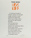 Fine Art - Work on Paper:Print, Robert Indiana (b. 1928). Tiger Music, from The Book ofLove Portfolio, 1997. Embossment in...
