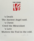 Fine Art - Work on Paper:Print, Robert Indiana (b. 1928). The Word, from The Book of LovePortfolio, 1996. Embossment in co...