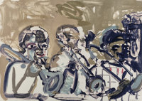 Romare Howard Bearden (1911-1988) Brass Section (Jamming at Minton's), 1979 Lithograph in colors on