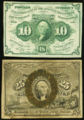 Fractional Currency:First Issue, Fr. 1242 10¢ First Issue XF;. Fr. 1283 25¢ Second Issue Fine.. ... (Total: 2 notes)