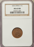 Indian Cents, 1873 1C Open 3 MS65 Red and Brown NGC. NGC Census: (87/8). PCGS Population: (80/7). CDN: $1,250 Whsle. Bid for problem-free...