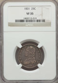 Bust Quarters, 1831 25C Small Letters VF35 NGC. NGC Census: (16/433). PCGS Population: (49/529). Mintage 398,000. ...