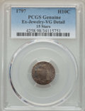 Early Half Dimes, 1797 H10C -- Ex-Jewelry -- PCGS Genuine. VG Details. NGC Census: (2/114). PCGS Population: (5/195). VG8 . Mintage 44,527....