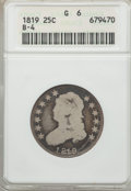 Bust Quarters, 1819 25C Small 9, B-4, R.4, Good 6 ANACS. NGC Census: (2/10). PCGS Population: (5/7). Mintage 144,000. ...