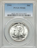 Walking Liberty Half Dollars: , 1944 50C MS66 PCGS. PCGS Population: (1460/128). NGC Census: (941/89). CDN: $97 Whsle. Bid for NGC/PCGS MS66. Mintage 28,20...