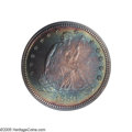 Proof Seated Quarters: , 1880 25C PR68 PCGS. Both obverse and reverse of this 1880 proofquarter have taken on gorgeous multicolored toning in pred...