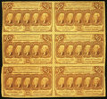 Fractional Currency:First Issue, Fr. 1281 25¢ First Issue Uncut Block of Six Very Fine.. ...