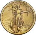 High Relief Double Eagles, 1907 $20 High Relief, Flat Rim, MS64 PCGS. CAC....