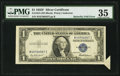 Error Notes:Attached Tabs, Butterfly Fold Error Fr. 1615 $1 1935F Silver Certificate. PMGChoice Very Fine 35.. ...