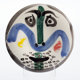 Pablo Picasso (1881-1973) Visage No. 130, 1963 White earthenware ceramic in colors with partial glazing 9-7/8 inches