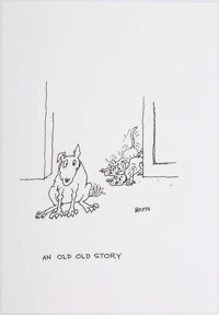 """George Booth """"An Old Old Story"""" Unpublished Single Panel Cartoon Original Art Illustration dated 9-2015 (2015)..."""